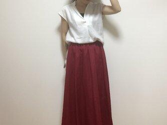 リネンロング丈フレアースカート(ベリー)の画像