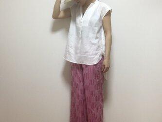 コットンジャガードワイドパンツ(ピンク)の画像