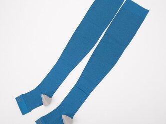 癒本舗 ヒルコス 靴下 着圧ソックス ブルー S丈の画像