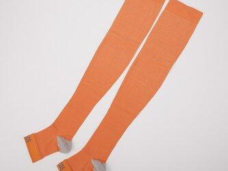 癒本舗 ヒルコス 靴下 着圧ソックス オレンジ L丈の画像