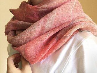 shawl[手織りリネンショール] あかねの画像