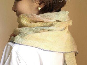 shawl[手織りリネンショール] 黄×緑の画像