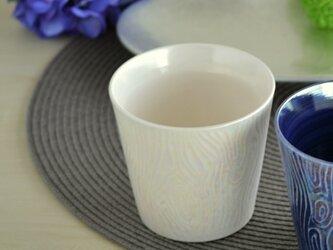 煌めく木目のロックカップ(白)の画像