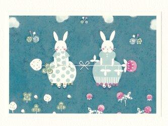 「花うさぎのクローバー」ポストカード2枚セット  〇カードNO.1804の画像