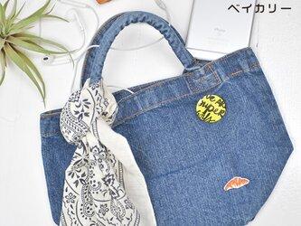 新作ランチトート【ウォッシュドデニム】;クロワッサン刺繍付きの画像