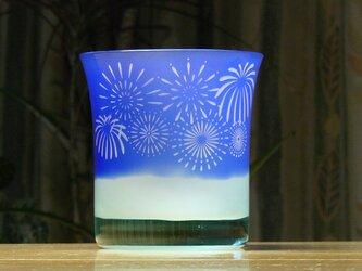 猫と花火のロックグラス 水色×青(1個)の画像
