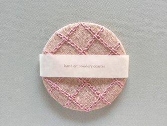 リネン手刺繍コースターpink×pinkの画像