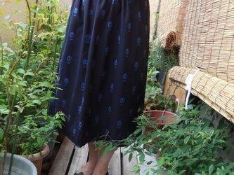 セール!どくろの久留米絣のスカート(紺)の画像