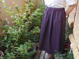 セール!久留米絣のスカート(紫)の画像