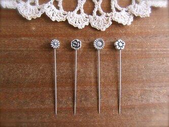 *再販* シルバーメタル小さなお花ビーズの待ち針 4種4本セットの画像