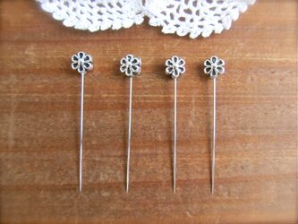 *再販* シルバーメタルビーズの待ち針 4本セット  お花の画像