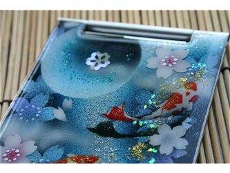 【送料無料】匠の技!和柄手鏡「雨」和風コンパクトミラー(名刺入れサイズ・縦9cm×横4cm)の画像