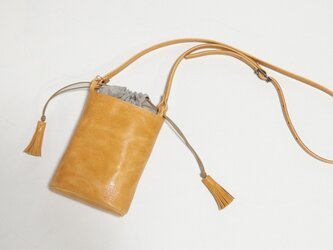 [受注生産] 小さなバケツ型のミニポシェット キャメルの画像