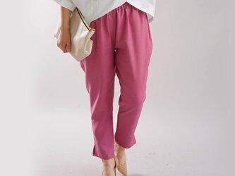 【wafu】中厚 リネン パンツ 裾スリット ジョッパーズ ウエストゴム ベルトループ/イタリアンローズ b001e-irs2の画像