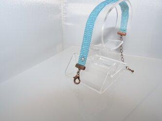 ビーズ織り【シンプルブレスレット】ラメ系・ブルーの画像