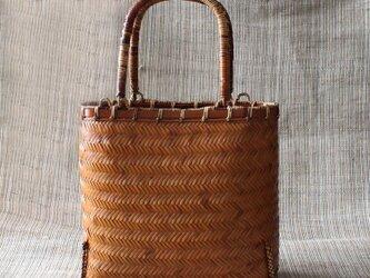 【受注製作】茶道風 竹編み込みミニかごバッグ 厳選素材と手編み織 2B106の画像