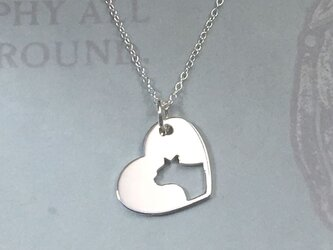 CatProfile-1 Openwork Heart Pendant Silver ネコの透かし彫りペンダントの画像