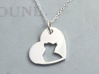 CatProfile-2 Openwork Heart Pendant Silver ネコの透かし彫りペンダントの画像