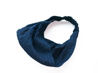 ◇◆◇indigo 40/-linen hairband_border×plainの画像
