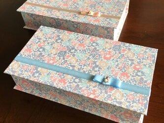 リバティプリントのブック型BOX(pale blue)の画像