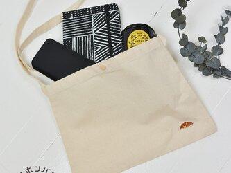 サコッシュ【キャンバス】;クロワッサン刺繍付きの画像