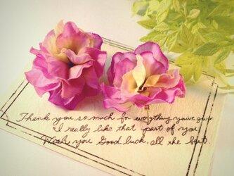 まんまる紫陽花ピアスの画像