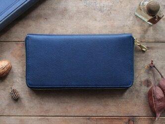 藍染革[shiboai] ×オイルレザー ラウンドファスナー長財布の画像