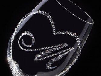 【白ワイングラス オープンハート&イニシャル】 結婚祝い 誕生日 プレゼント ギフト スワロフスキー デコグラスの画像