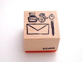 <ゴム製スタンプ>「お手紙セット」(3cm)の画像
