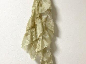 着物リメイク シルクティアードマフラー 玉ねぎ 鉄媒染の画像