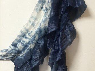 本藍染  着物リメイク 絹 ティアードマフラーの画像