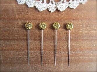 *再販* メタルお花ビーズの待ち針 4本セット ゴールドの画像