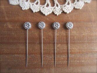 *再販* メタルお花ビーズの待ち針 4本セット シルバーの画像