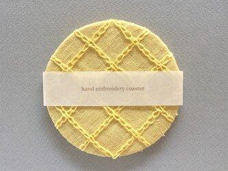 リネン手刺繍コースターyellow×yellowの画像