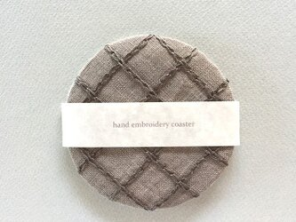 リネン手刺繍コースターgray×grayの画像