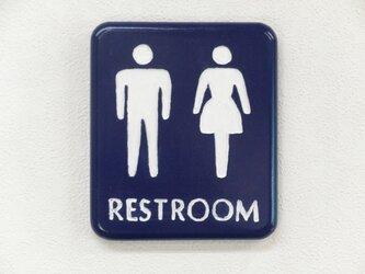 木製サインボード レストルーム  (トイレ RESTROOM)の画像
