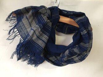 藍染めの手織りストール c21の画像