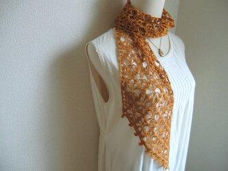 リネン 麻 花模様のストール(ゴールデンオレンジ)の画像