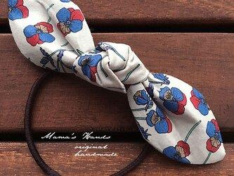 リバティ 花 パンジー リボン ヘアゴムの画像