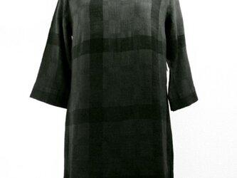 六分袖コットンチュニック(格子模様・グレー濃淡ボカシ染)の画像