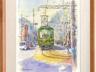 水彩画原画 江ノ電・腰越商店街を走る3の画像