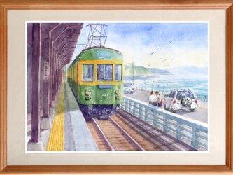 水彩画原画 江ノ電・鎌倉高校前駅ホーム8の画像