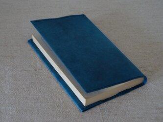ロウ引き和紙のブックカバー【新書用 藍染】の画像