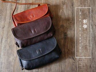 【受注製作】牛革のミニショルダーバッグ 使いやすい収納 内ポケット チャック付き 茶MB101の画像