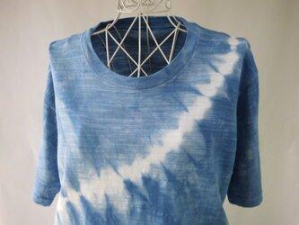 藍染め・少し厚手の絞り染めTシャツ_2・波・Lの画像