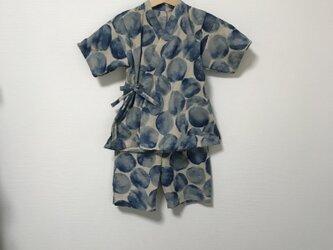 【再販】水彩ドット柄甚平ブルー サイズ100の画像
