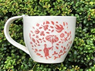 マグカップ―kakiotoshi red 雨と花水木の画像