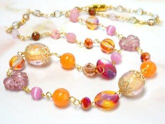 彩ネックレス*ピンクオレンジの画像