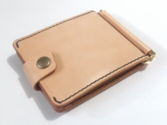巾85mmフラットになるマネークリップ カード4枚+マルチポケット 札ばさみ MC-10ki ヌメ革 生成りの画像