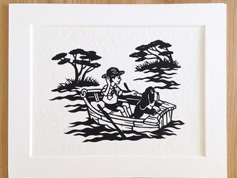 犬の切り絵「冒険号」◆バセットハウンドの画像